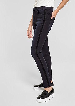 Sienna Slim: High Rise-Jeans mit Samt