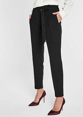 Elegantní 7/8-látkové kalhoty s opaskem