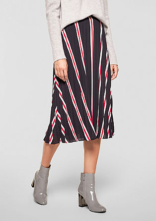 Pleated midi skirt with stripes from s.Oliver