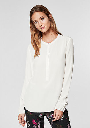 High Neck-Bluse mit Webmuster