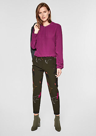 High-neck blouse with a woven pattern from s.Oliver
