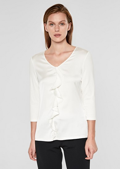 Blouse top with a flounce from s.Oliver