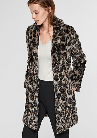 Faux fur coat with a leopard print pattern from s.Oliver