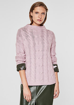 Cable knit jumper in blended wool from s.Oliver