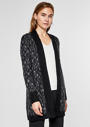 Long-Cardigan mit Wolle und Mohair