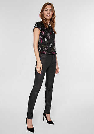 Sienna Slim Low: Hose im Fabric-Mix