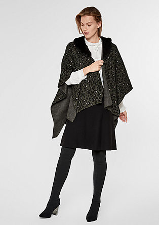 Poncho with a faux fur collar from s.Oliver