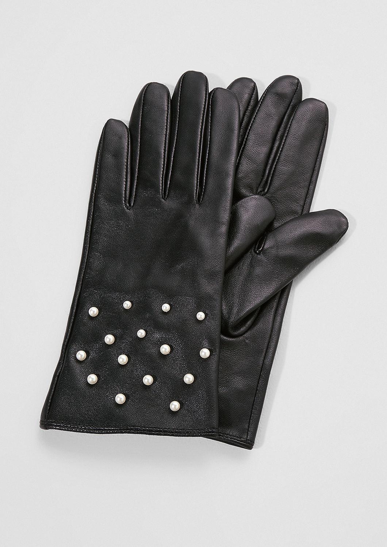 s.Oliver - Lederhandschuhe mit Schmuckperlen - 3