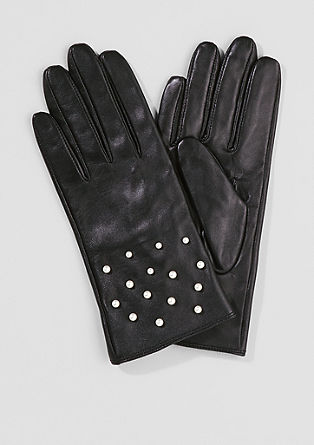 Leather gloves with decorative beads from s.Oliver