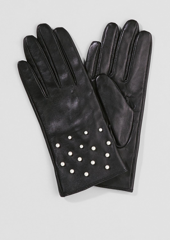 s.Oliver - Lederhandschuhe mit Schmuckperlen - 1