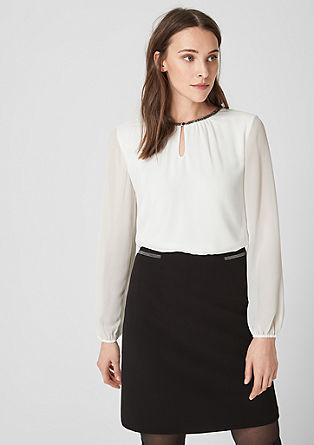 Blouse top with decorative neckline from s.Oliver