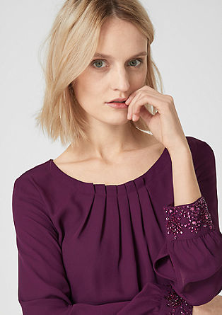 Chiffon blouse with decorative cuffs from s.Oliver