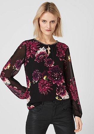 Chiffonbluse mit floralem Muster