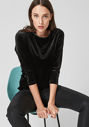 Velvet top with 3/4-length sleeves from s.Oliver