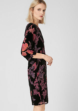 Velvet dress with a floral pattern from s.Oliver