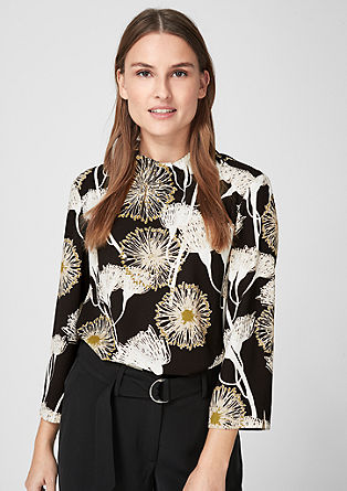 High-neck crêpe blouse from s.Oliver