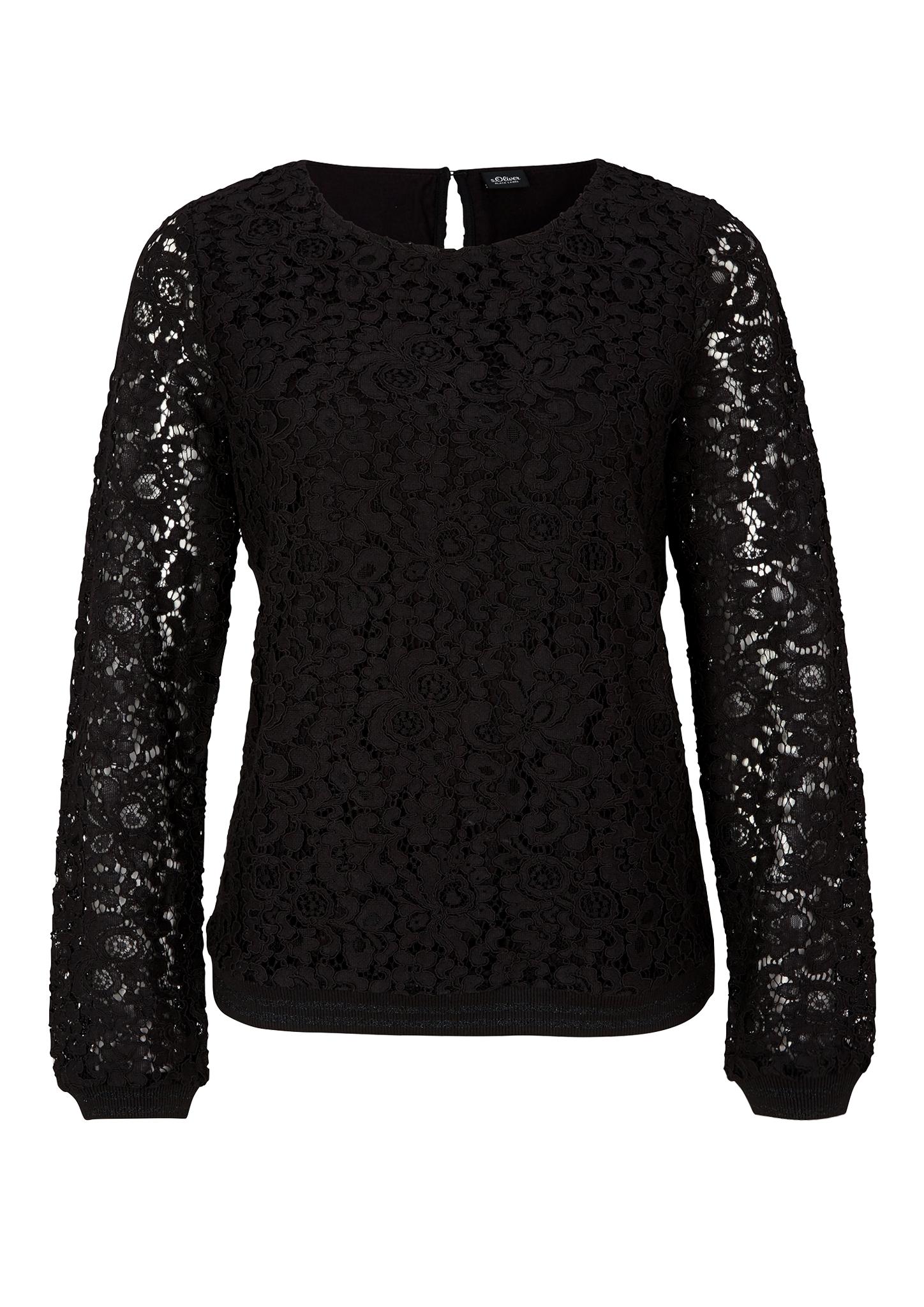 Spitzenshirt | Bekleidung > Shirts > Spitzenshirts | Grau/schwarz | Oberstoff: 65% baumwolle -  35% polyamid| futter: 95% viskose -  5% elasthan| bund 98% polyester -  2% elasthan | s.Oliver BLACK LABEL