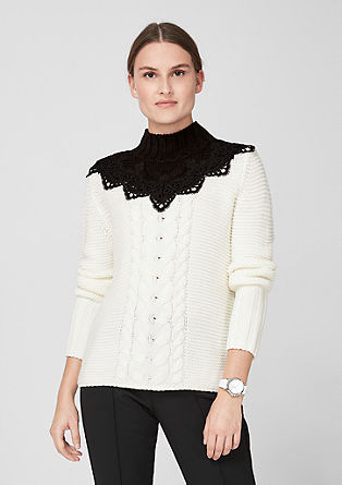 Turtleneck jumper with lace from s.Oliver