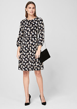 Patterned jersey dress with a belt from s.Oliver