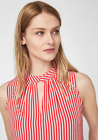 Blouse with a cut-out and a stand-up collar from s.Oliver