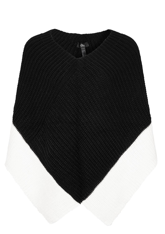 s.Oliver - Strickponcho in Black and White - 3