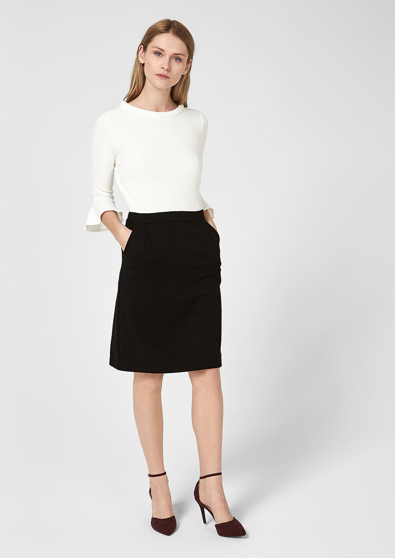 s.Oliver - Black and White-Kleid mit Struktur - 1
