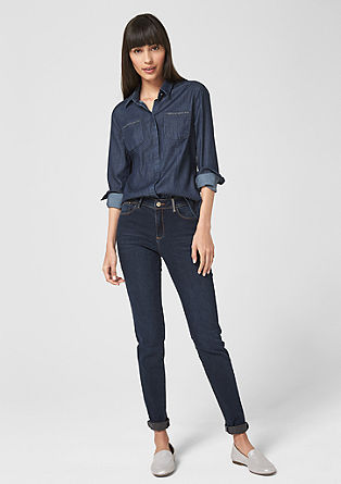 Denim blouse with gemstones from s.Oliver