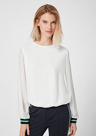Blouse top with ribbed trims from s.Oliver