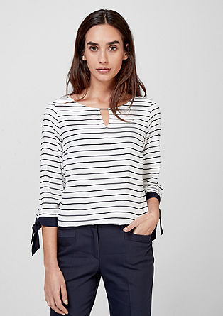 Striped blouse with fashionable details from s.Oliver
