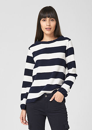 Ribbed top with block stripes from s.Oliver