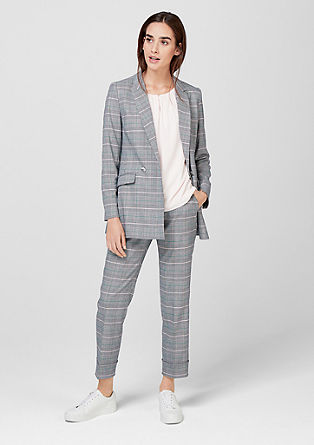 Long blazer with a Prince of Wales check design from s.Oliver