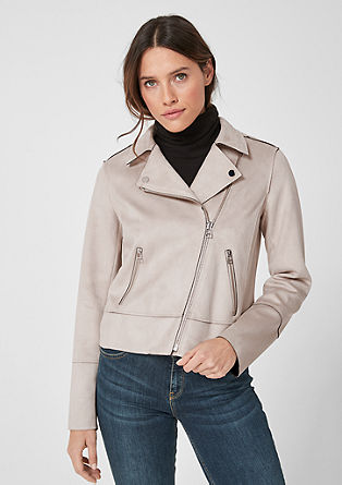 Bikerjacke in Suede-Optik