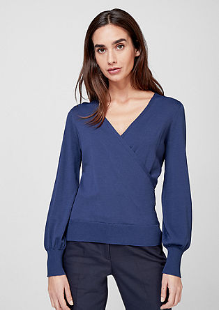 Slim fit jumper with a wrap effect from s.Oliver