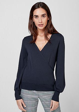 Ozek pulover z videzom ovijanja