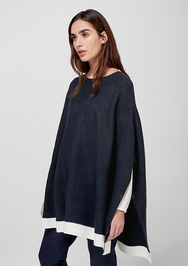 Knit poncho with a contrast trim from s.Oliver