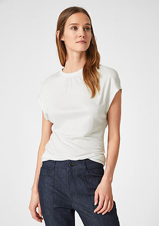 T-shirt with a pleated neckline from s.Oliver