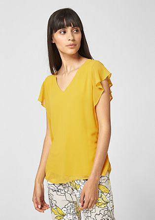 Chiffon-Shirt mit Volantärmeln
