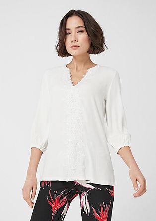 Fabric Mix-Bluse mit Spitze