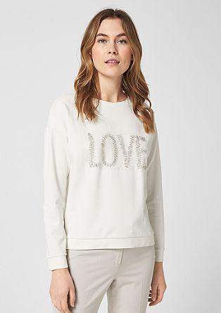 Sweatshirt mit Schmuckstein-Statement