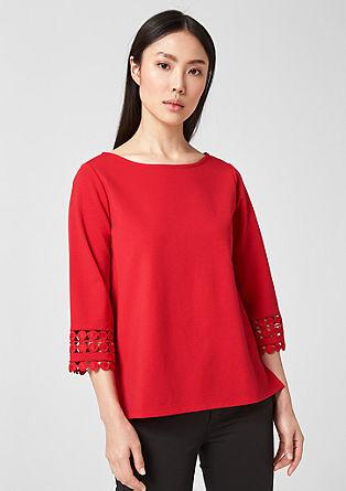 Interlock-Shirt mit Spitzenborte