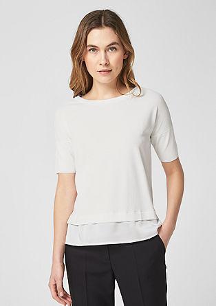 Leichter Pullover mit Satinsaum
