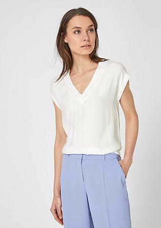 Fabric Mix-Shirt mit V-Neck