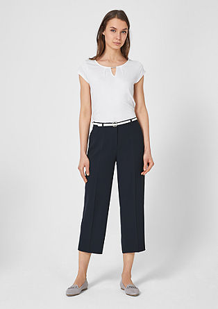 Culottes: Crêpe trousers with a belt from s.Oliver