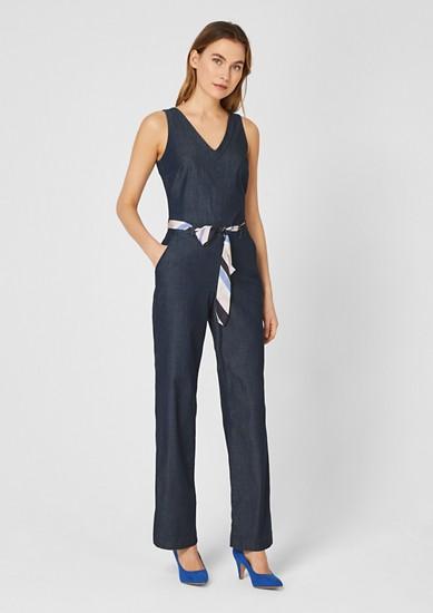 Combinaison en jean à ceinture en satin de s.Oliver