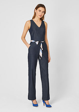 Denim jumpsuit with a satin belt from s.Oliver
