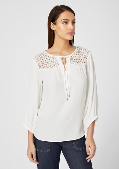 Tunic blouse with a lace yoke from s.Oliver
