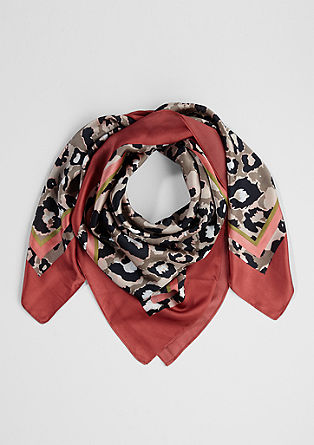 Woven scarf with a leopard print pattern from s.Oliver