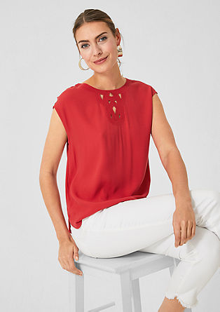 Blouse top with an embroidered insert from s.Oliver