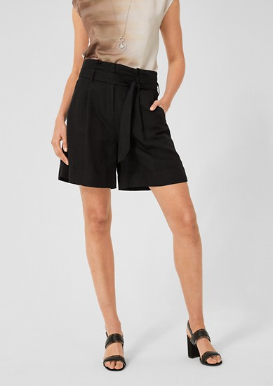 Paperbag-Shorts aus Leinenmix