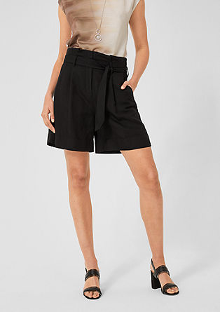 Paperbag Bermuda shorts in blended linen from s.Oliver